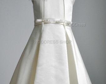 White Flower Girl Dresses,Satin Flower Girls Dress , Birthday Party Dress,Girls Pageant Dresses,Junior Bridesmaid Dress With Bow