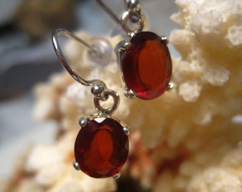 Hessonite Garnet Earrings in Sterling Silver