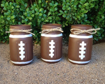 Set of 3 hand painted FOOTBALL mason jars! Home decor-Sports Decor-Baby Boy-Sports Nursery-Shower Centerpiece-Sports Theme Birthday