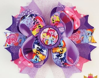 My Little Pony Hairbow! Pink, Purpple, Horse, Ponies, party, theme, Tulle, Polka, dot, Rainbow