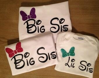 Custom Shirt Glitter Bow Big Sister and Little Sister Shirt and onesie set