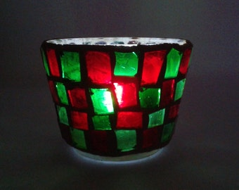Stained Glass Mosaic Votive Candle Holder. Created in Sparkling Hand-cut Red & Green Stained Glass! BEAUTIFUL!