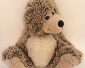 1990 24K Polar Puff Brown Grey CORY Leaning Plush Item #4719 Special Effects Bear Stuffed Animal Division of Mighty Star