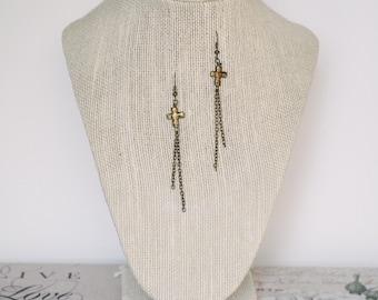 Antique Gold Cross Earrings