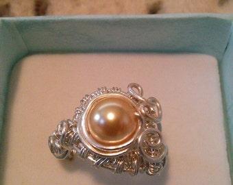 wire wrapped jewelry , swarovsky pearl ring