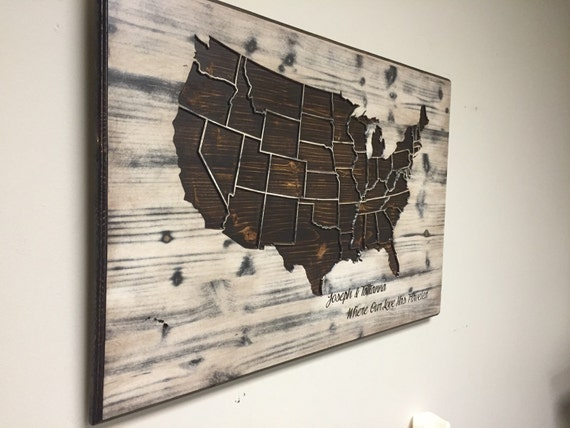 Wood US Map Wall Art Carved United States Map Us Map With - Us brown map with states