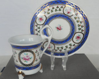 Mid Century Footed Demitasse and Saucer, Blues, Golds, and White with Pink Roses