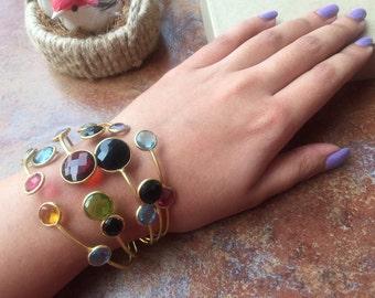 Multi Color Glass Cuff Bracelet/Crystal Bracelet/Adjustable Statement Bracelet/Gold Cuff Bracelet