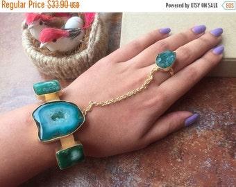 25% VALENTINE SALE Green Agate Hand Harness, Handflower Bracelet, Slave Bracelets, Chain Bracelet, Ring Bracelet, Chain Ring Bracelet, Afric