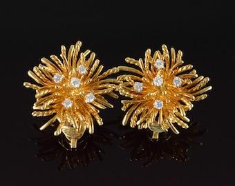 18K Tiffany & Co 0.50 CTW Diamond Aster Flower Earrings Yellow Gold