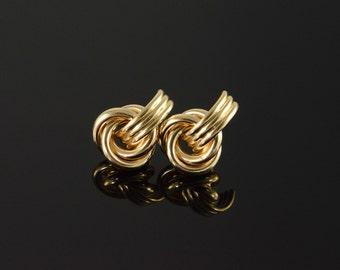 14K Twist Knot Stud Earrings Yellow Gold