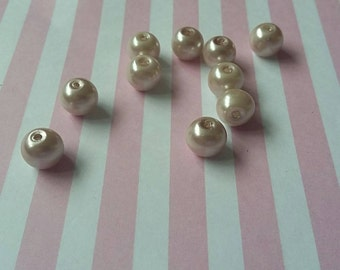 8mm brown pearl beads, Light cream brown, Glass, Round, Pack of 100 - B2i