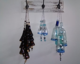 Reclaimed Wine & Beer Bottles crafted into wind chimes/sun catchers