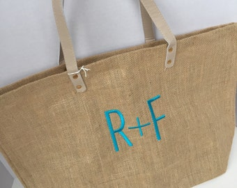 Monogrammed R+F Tote | Rodan and Fields Burlap Beach Bag | Monogrammed Jute Tote
