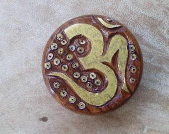 Ohm hand carved wooden herb grinder. Aum grinder. Om herb grinder.