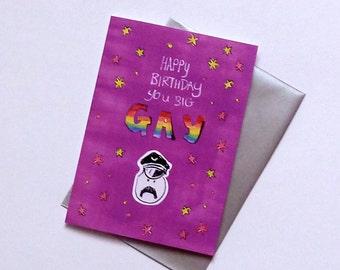Big Gay Birthday humorous Greetings Card