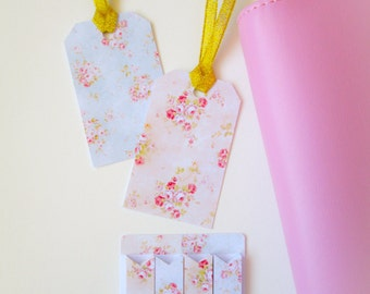 Floral Shabby Page Flags with Gift Tags