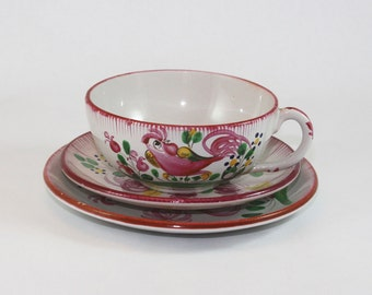 Antique french faïence pink Rooster cups and saucers