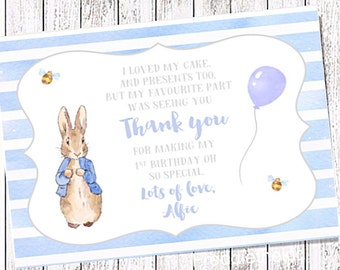 Downloadable Personalised Peter Rabbit  Birthday Thank you Card