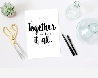 A4 'Together we have it all' modern family print