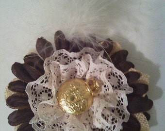 Steampunk Daisy Flower Hair Accessory Pocket watch Lace Feathers Cosplay Hair fascinator Clip