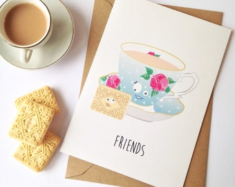 Friendship, best friend, bff, thank you, bestie, friends support card. Afternoon tea A5 tea and biscuit illustration card