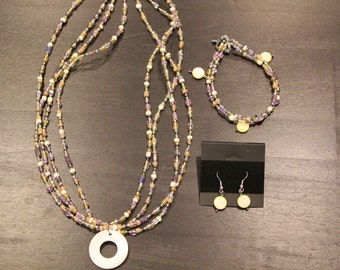 Seed Bead Necklace, Bracelet and Earring Set  - Item No. 7