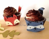 12 Woodland cupcake wrappers | Forest animals Birthday party or baby shower | Rustic, Camping creatures theme cupcake linners