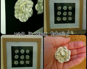 REDUCED!!! 30 x 30 cm oak frame with 9 hand assembled 3d paper roses with black backing.