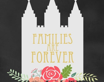 LDS Families are Forever Printable 8x10 digital download - LDS Temple Art - Temple Print