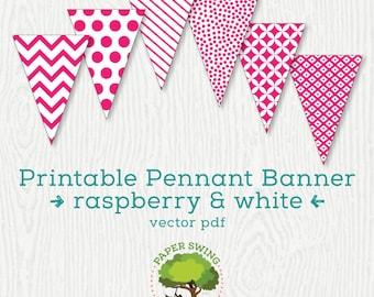 Printable Raspberry & White Pennant Banner