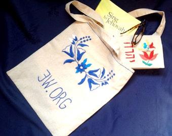 JW.Org hand embroidered linen magazine bag