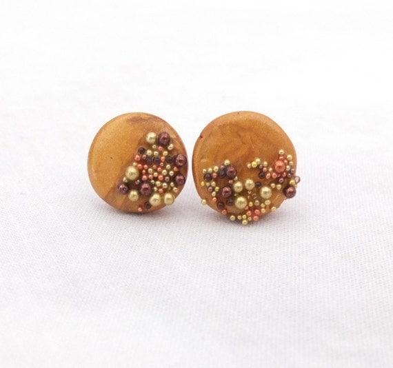 Polymer clay earrings, earrings, studs, boho, gypsy, bohemian, every day earrings, polymer clay, fimo, gold, sparkle, microbeads, simple