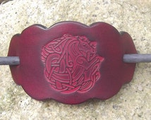 "Leather hair  Barrette, celtic goddess design, colour ""Bordeaux""(16 colors to choose from),2 sizes   available"