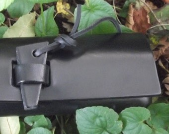Leather pencil case , black