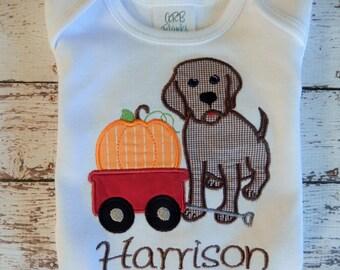 Boys fall shirt;  boys shirt with puppy and pumpkin; Boys Thanksgiving shirt; SHIPS 3-5 days