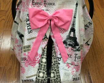 Paris Car Seat Canopy With Pink Bow