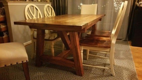 farmhouse dining table w truss beam legs by craftyrusticelegance