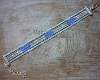 Miyuki woven bracelet ice blue silver blue bead bracelet loom