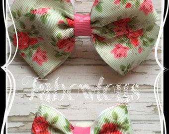 Vintage Roses Flower Ribbon Boutique or Tuxedo Bow, Hairbands or Clips