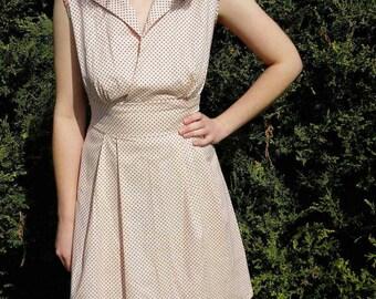 50s summer dress - 50s day dress - 50s Cotton Dress - 1950s Summer Dress - Cotton Day Dress - White Collar Dress - Office Dress
