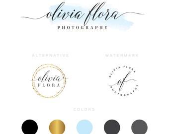 Branding kit watercolor  Logo Design Premade Branding Package- watermark- submark- stamp- business logo