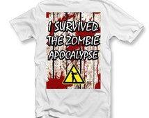 I Survived The Zombie Apocalypse KIDS T-SHIRT | The Walking Dead Inspired | Funny | Gift Ideas | Zombies | Unisex Boys Girls
