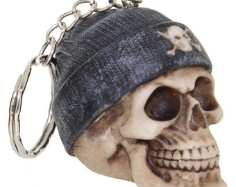 Beanie Skull Grey Hat Keyring | Gift Idea | Unusual Gifts