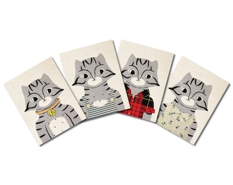 cat family greeting card set
