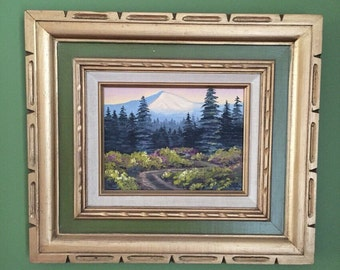 Vintage Oil Painting on Canvas / Mid Century Painting of a Landscape / Mid Century Art / Original Signed Oil Painting