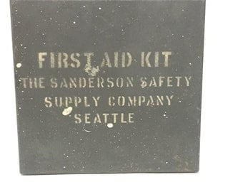 Vintage First Aid Kit from The Sanderson Safety Supply Company in Seattle with Original Contents