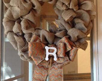 Custom Burlap wreath holiday front door house warming