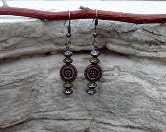 Gold, Bronze, Silver Bead Earrings, One-of-A-Kind