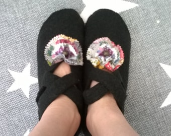 Black Wool Felted Slippers